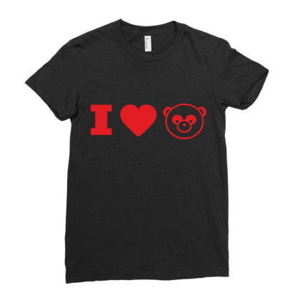 I Love Panda Ladies Fitted T-shirt Designed By Estore