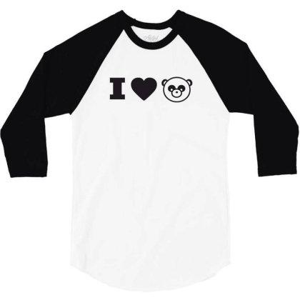 I Love Panda 3/4 Sleeve Shirt Designed By Estore