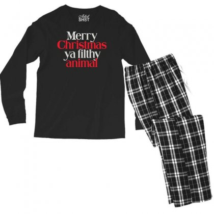 Merry Christmas Ya Filthy Animal Men's Long Sleeve Pajama Set Designed By Baron