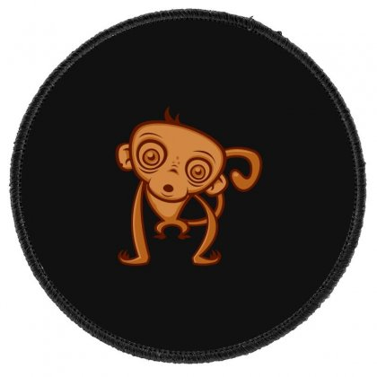 Monkey Cartoon Round Patch Designed By Baron