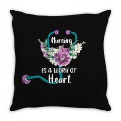 nursing is a work of heart for dark Throw Pillow | Artistshot