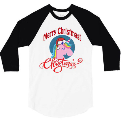 Unicorn Squad Merry Christmas 3/4 Sleeve Shirt Designed By Kevin Design