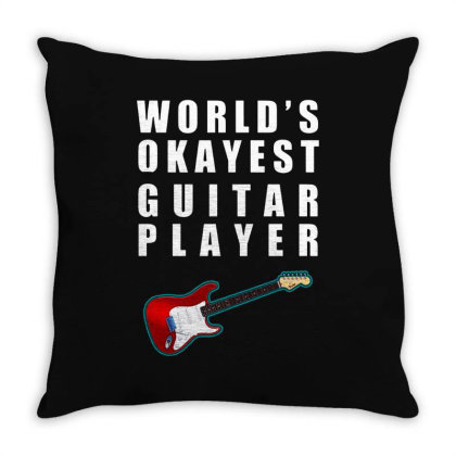 World's Okayest Guitar Player   For Dark Throw Pillow Designed By Kevin Design