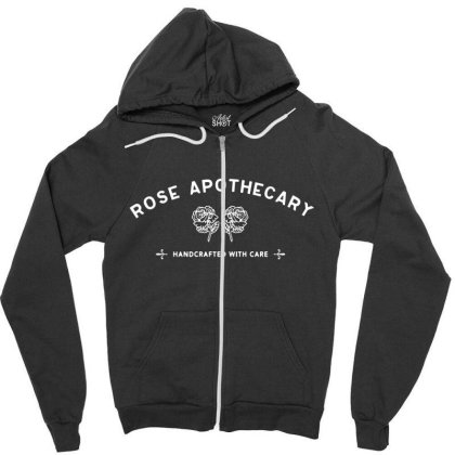 Rose Apothecary   White Zipper Hoodie Designed By Kevin Design