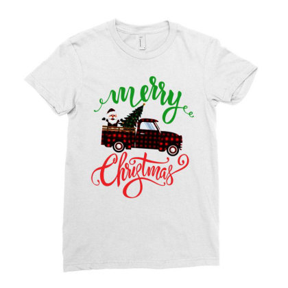Truck With Plaid Christmas Tree & Cute Santa Ladies Fitted T-shirt Designed By Kevin Design