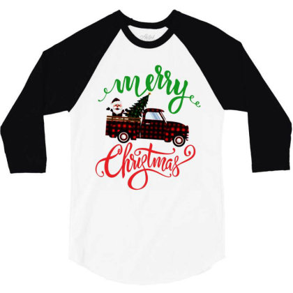Truck With Plaid Christmas Tree & Cute Santa 3/4 Sleeve Shirt Designed By Kevin Design