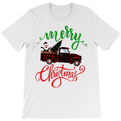 Truck With Plaid Christmas Tree & Cute Santa T-shirt Designed By Kevin Design
