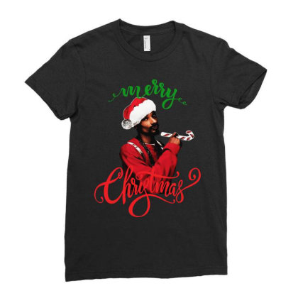 Snoop Dogg Merry Christmas Ladies Fitted T-shirt Designed By Kevin Design