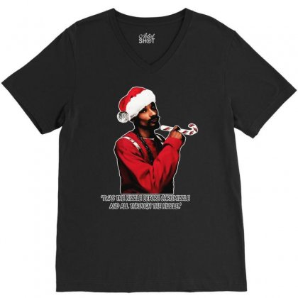 Snoop Dogg Christmas V-neck Tee Designed By Kevin Design