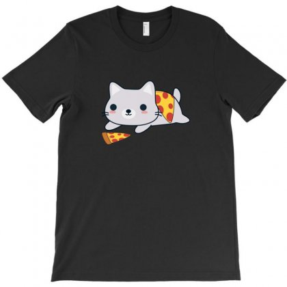 Pizza Loving Cat T-shirt Designed By Baron