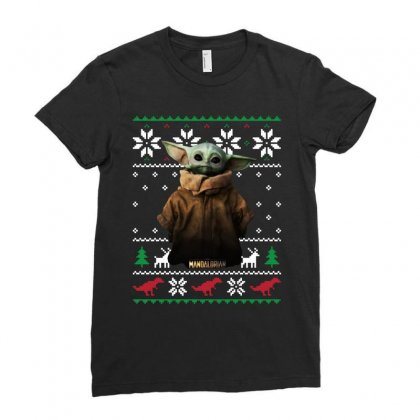Child Potrait Mandalorian Ugly Christmas Sweater   For Dark Ladies Fitted T-shirt Designed By Paulscott Art