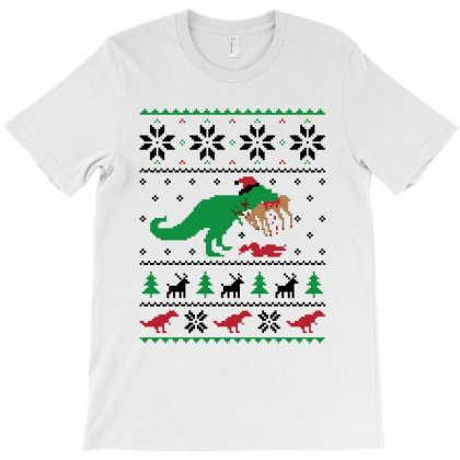 Dinosaur Ugly Christmas Sweater For Light T-shirt Designed By Kevin Design