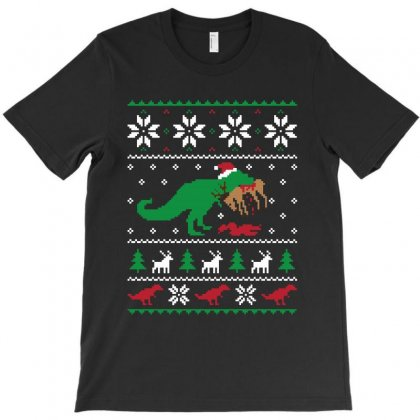 Dinosaur Ugly Christmas Sweater   For Dark T-shirt Designed By Kevin Design