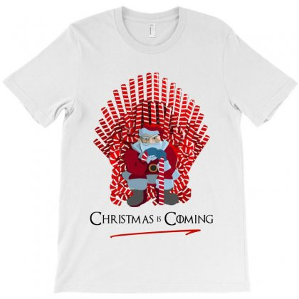 Christmas Is Coming Santa On Candy Cane Throne   For Light T-shirt Designed By Kevin Design