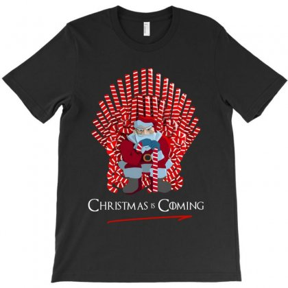 Christmas Is Coming Santa On Candy Cane Throne   For Dark T-shirt Designed By Kevin Design