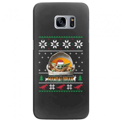 The Mandalorian Ugly Christmas Sweater   For Dark Samsung Galaxy S7 Edge Case Designed By Paulscott Art