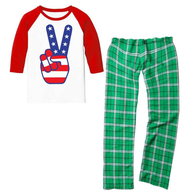 Peace Sign Hand Youth 3/4 Sleeve Pajama Set | Artistshot