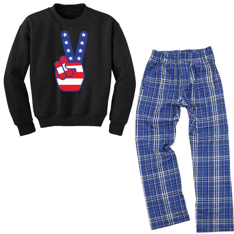 Peace Sign Hand Youth Sweatshirt Pajama Set | Artistshot