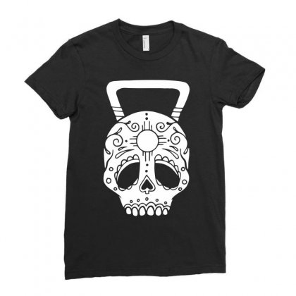 Kettlebell Skull Ladies Fitted T-shirt Designed By Candrashop
