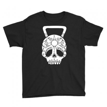 Kettlebell Skull Youth Tee Designed By Candrashop