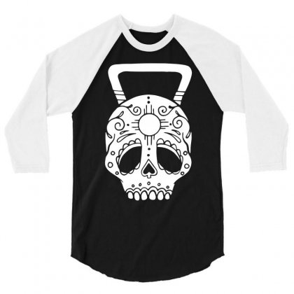 Kettlebell Skull 3/4 Sleeve Shirt Designed By Candrashop