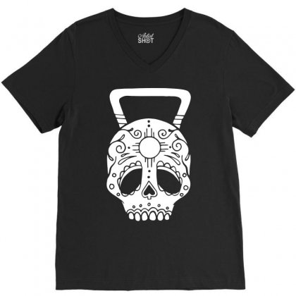 Kettlebell Skull V-neck Tee Designed By Candrashop