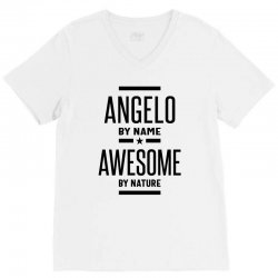Angelo Personalized Name Birthday Gift V-Neck Tee | Artistshot