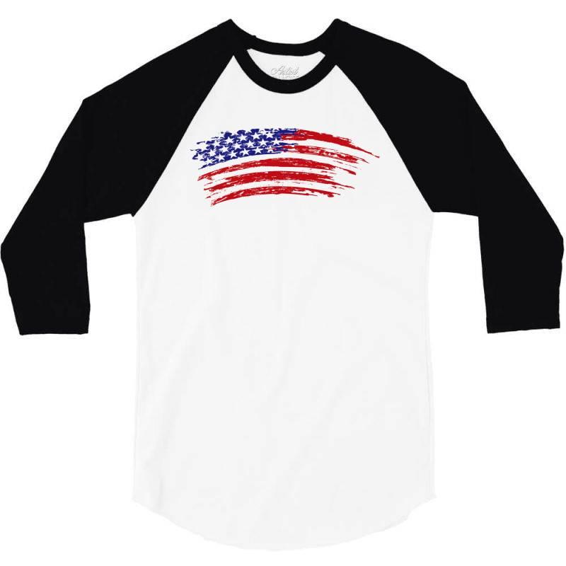 American Flag 3/4 Sleeve Shirt   Artistshot