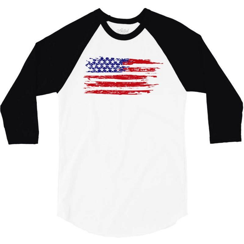 American Flag 3/4 Sleeve Shirt | Artistshot