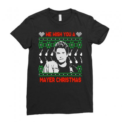 Wish You A Mayer Christmas Ladies Fitted T-shirt Designed By Paulscott Art