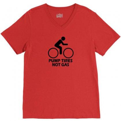 Pump Tires Not Gas Earth Friendly Green Living Cool Nerd Geek Shirt T V-neck Tee Designed By Mdk Art