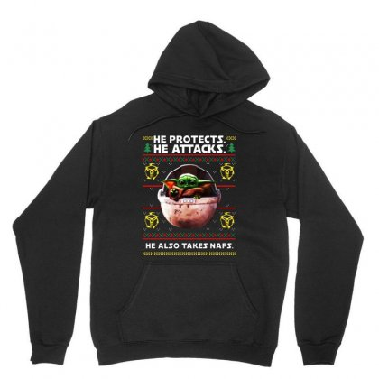 Baby Yoda Christmas Protects Attacks Also Takes Naps Unisex Hoodie Designed By Paulscott Art