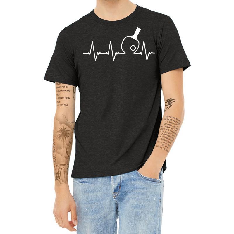 Table Tennis Heartbeat Heather T-shirt   Artistshot