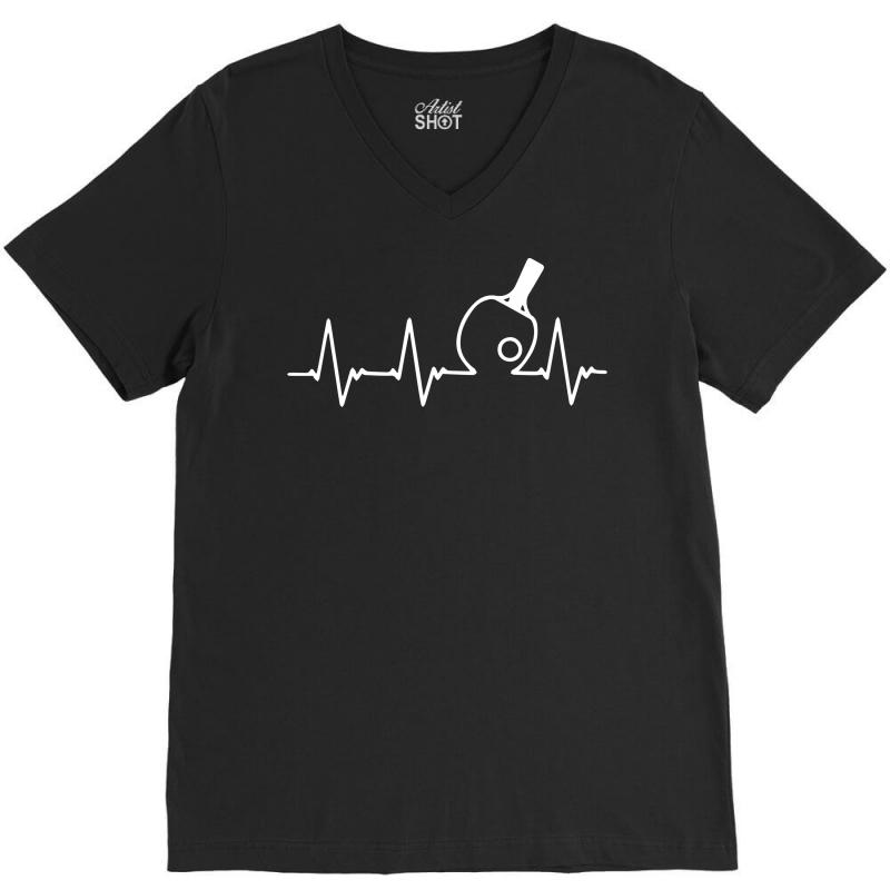 Table Tennis Heartbeat V-neck Tee   Artistshot