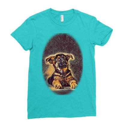 Owner And Labrador Retriever E City Ladies Fitted T-shirt Designed By Kemnabi