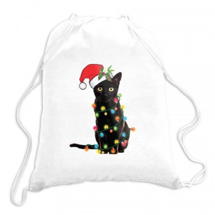Grumpy Christmas Cat Drawstring Bags Designed By Doniemichael