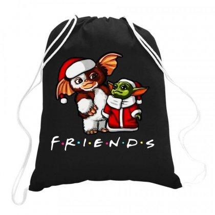 Baby Yoda And Baby Gizmo Santa Friends Christmas 2020 Funny Drawstring Bags Designed By Paulscott Art