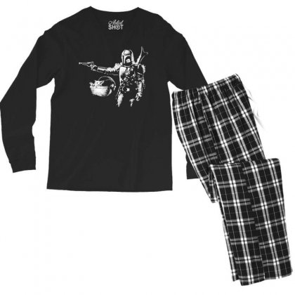 Pulp Mando The Mandalorian Baby Yoda Men's Long Sleeve Pajama Set Designed By Paulscott Art