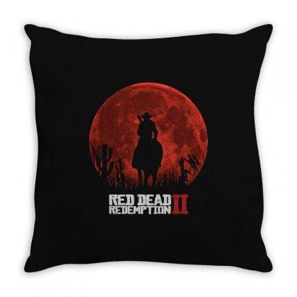 Red Dead Redemption 2   Red Moon   Cowboy Throw Pillow Designed By Paulscott Art