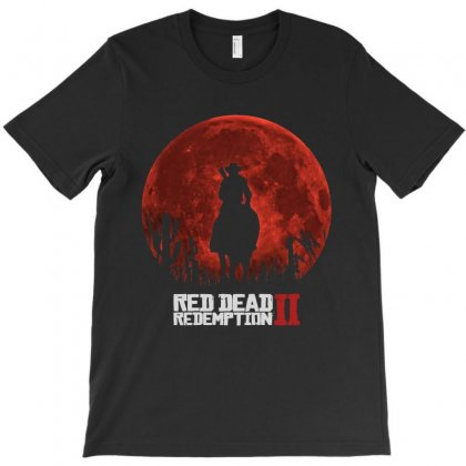Red Dead Redemption 2   Red Moon   Cowboy T-shirt Designed By Paulscott Art
