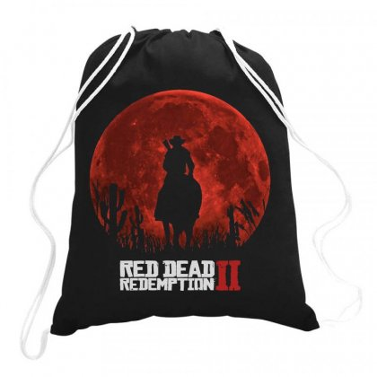 Red Dead Redemption 2   Red Moon   Cowboy Drawstring Bags Designed By Paulscott Art