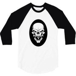 Skull 3/4 Sleeve Shirt   Artistshot