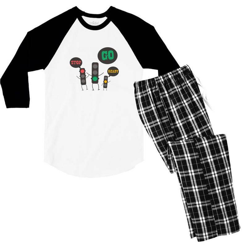 Stop Go Ready Men's 3/4 Sleeve Pajama Set   Artistshot