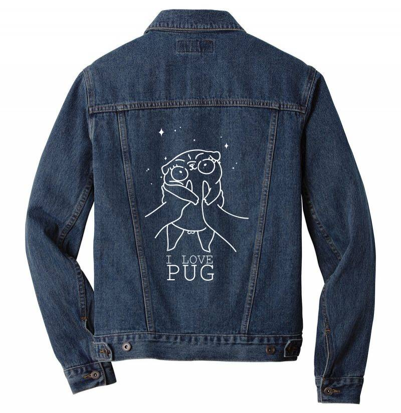 I Love Pug Men Denim Jacket | Artistshot