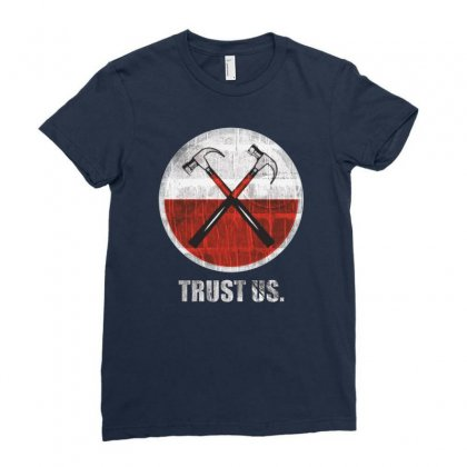 Roger Waters Trust Us Pink Floyd Progressive Ladies Fitted T-shirt Designed By Mdk Art