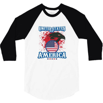United States Of America 3/4 Sleeve Shirt Designed By Estore