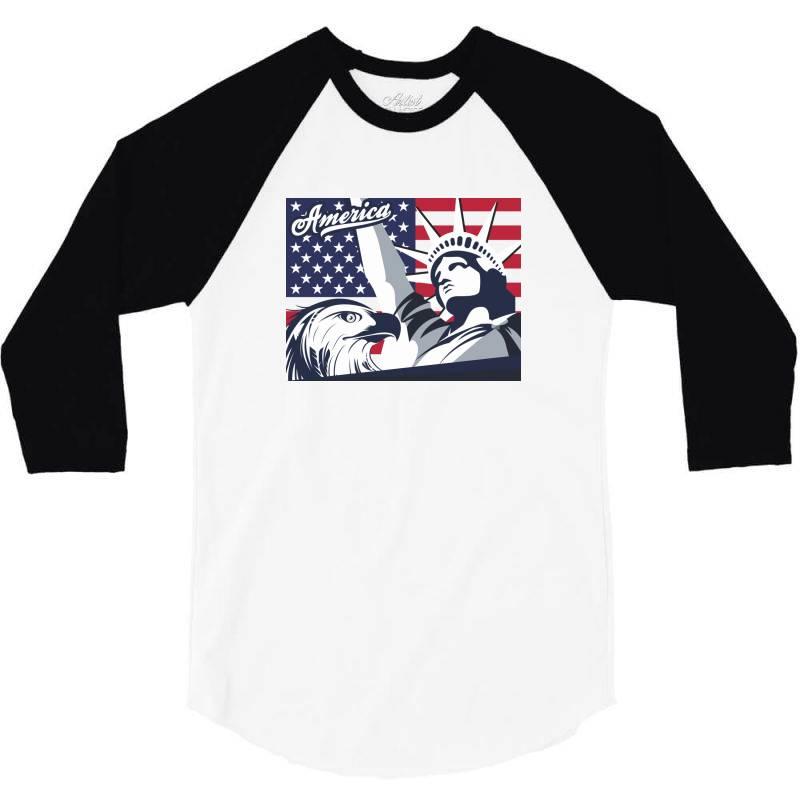 America 3/4 Sleeve Shirt | Artistshot