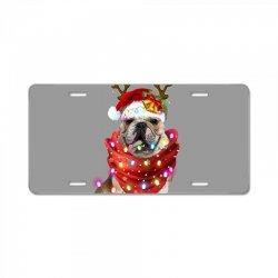 bulldog christmas License Plate | Artistshot