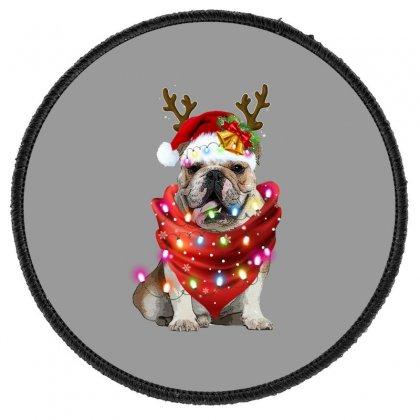 Bulldog Christmas Round Patch Designed By Sengul