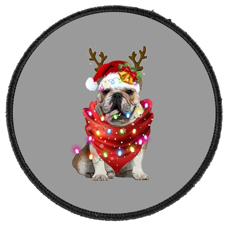 Bulldog Christmas Round Patch | Artistshot